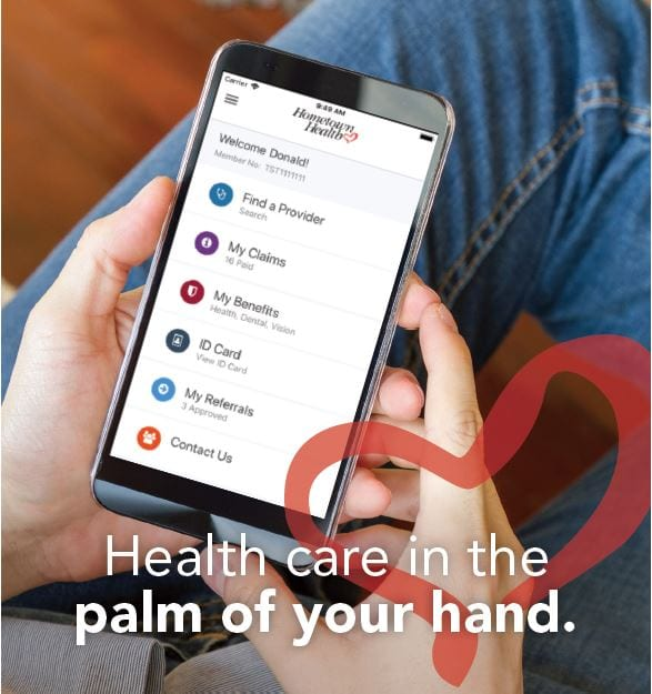 Mobile app on a phone for Senior Care Plus
